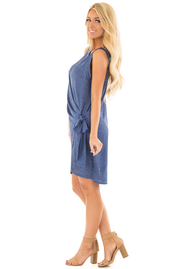 Midnight Blue Shimmer Wrap Dress with Side Tie side full body