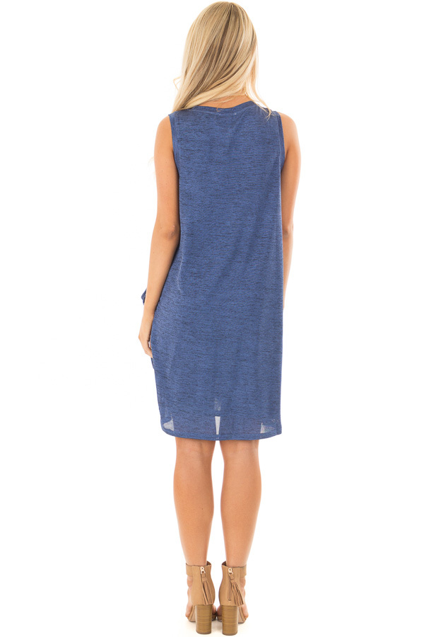 Midnight Blue Shimmer Wrap Dress with Side Tie back full body