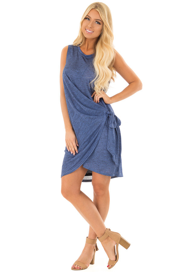 Midnight Blue Shimmer Wrap Dress with Side Tie front full body