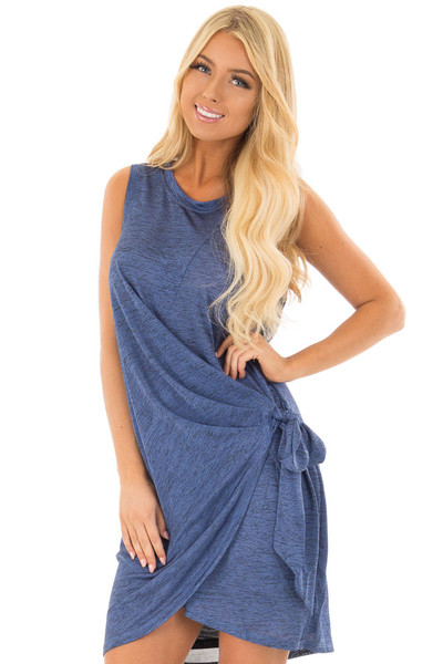 Midnight Blue Shimmer Wrap Dress with Side Tie front close up