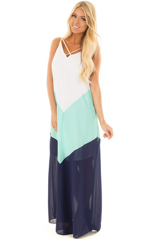 White Mint and Navy Chevron Maxi Dress with X Neckline front full body