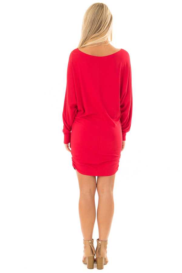 Lipstick Red Dolman Sleeve Dress with Side Ruching back full body