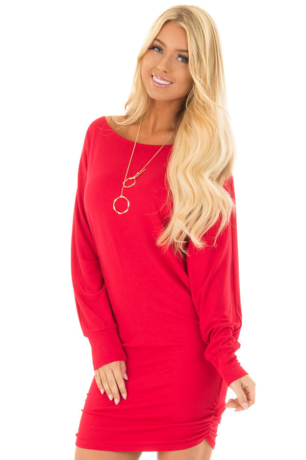 Lipstick Red Dolman Sleeve Dress with Side Ruching front close up