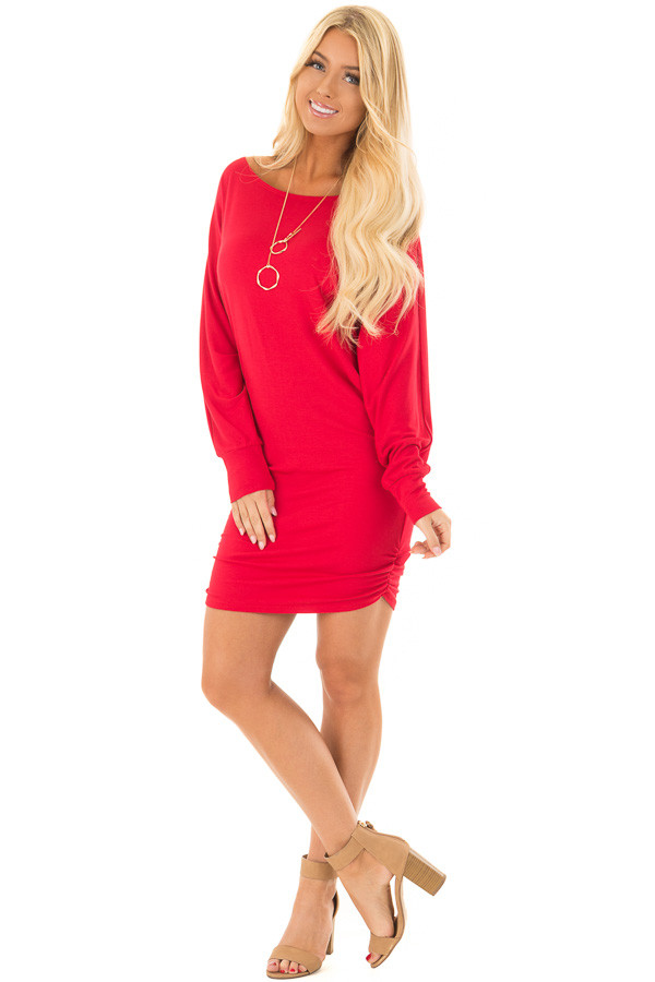 Lipstick Red Dolman Sleeve Dress with Side Ruching front full body