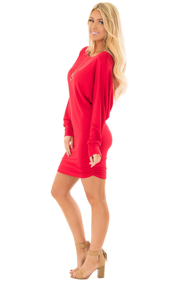 Lipstick Red Dolman Sleeve Dress with Side Ruching side full body