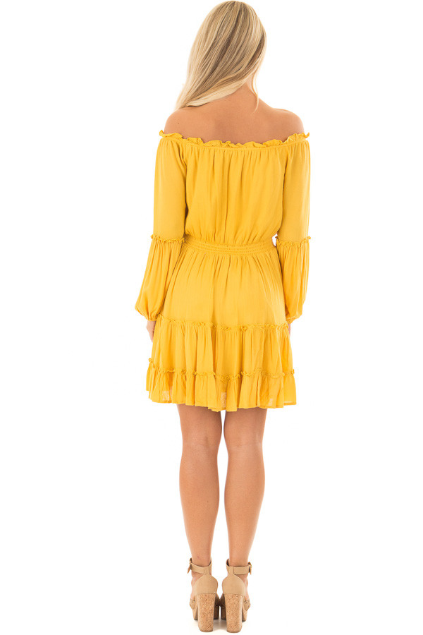 Canary Off the Shoulder Dress with Ruffle Detail back full body