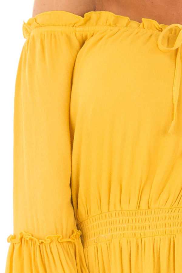 Canary Off the Shoulder Dress with Ruffle Detail detail