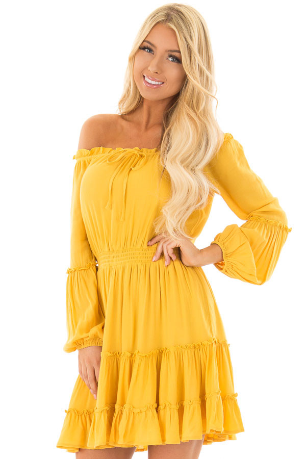 Canary Off the Shoulder Dress with Ruffle Detail front close up