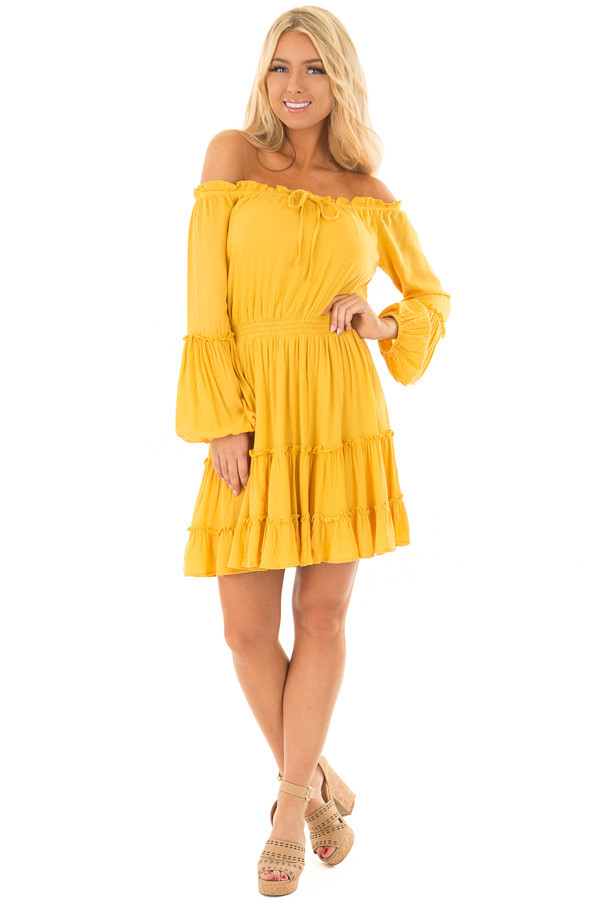 Canary Off the Shoulder Dress with Ruffle Detail front full body
