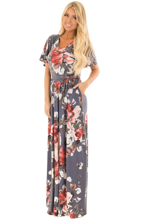 Slate Blue Floral Print Slinky Maxi Dress with Waist Tie front full body