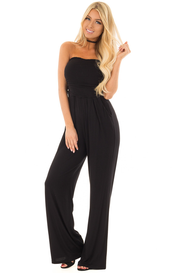 Black Sleeveless Jumpsuit with Pockets front full body