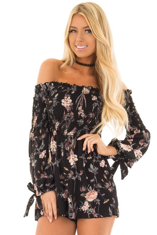 Black Floral Print Off the Shoulder Romper front close up