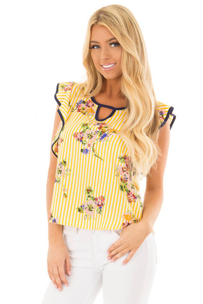 Sunshine Yellow Striped Top with Floral Print Detail front close up