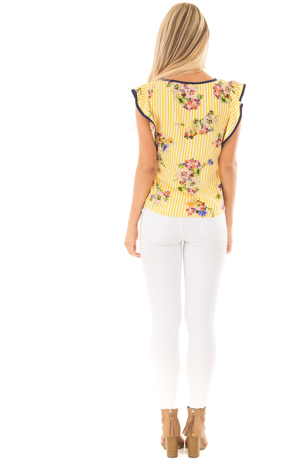 Sunshine Yellow Striped Top with Floral Print Detail back full body