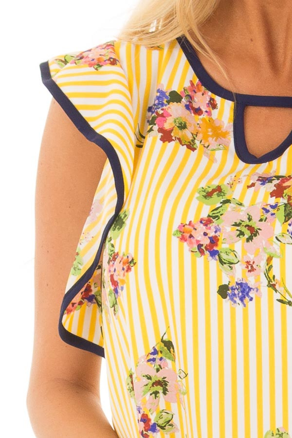Sunshine Yellow Striped Top with Floral Print Detail detail