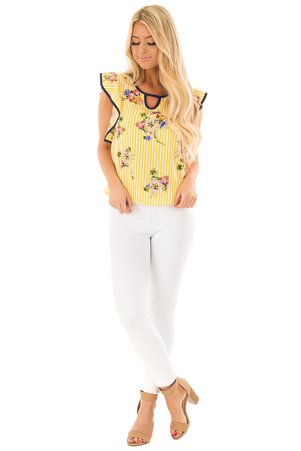 Sunshine Yellow Striped Top with Floral Print Detail front full body
