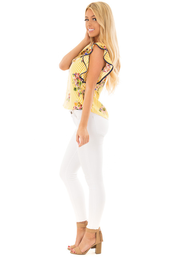 Sunshine Yellow Striped Top with Floral Print Detail side full body