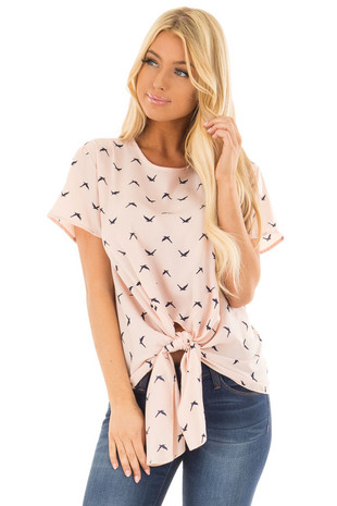 Blush Bird Print Top with Front Tie Detail front close up