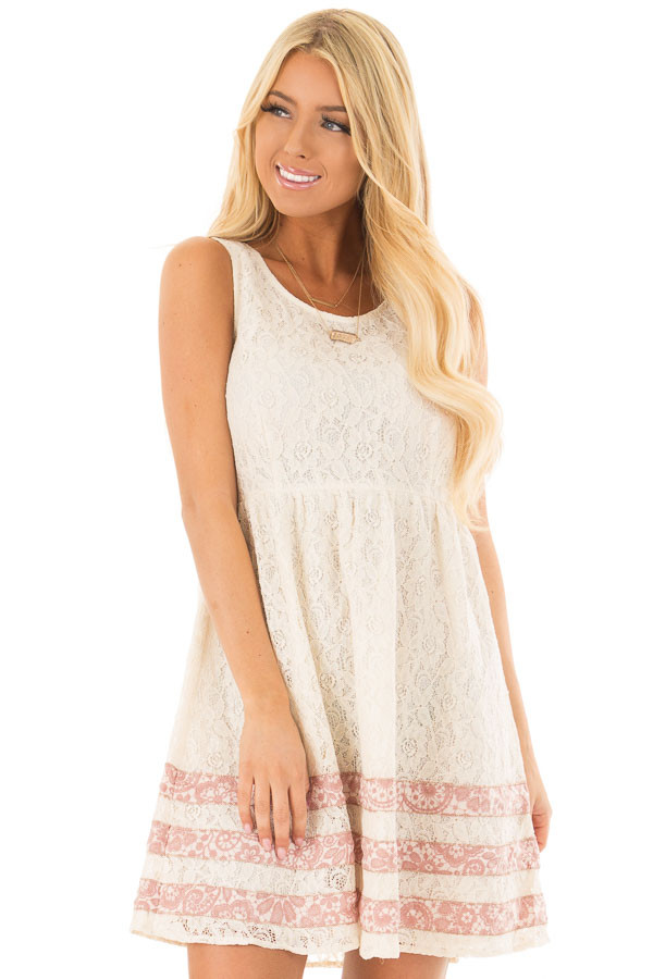 Cream Lace Dress with Floral Print Stripe Detail front close up
