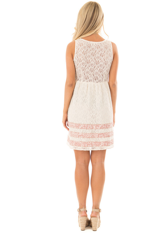 Cream Lace Dress with Floral Print Stripe Detail back full body