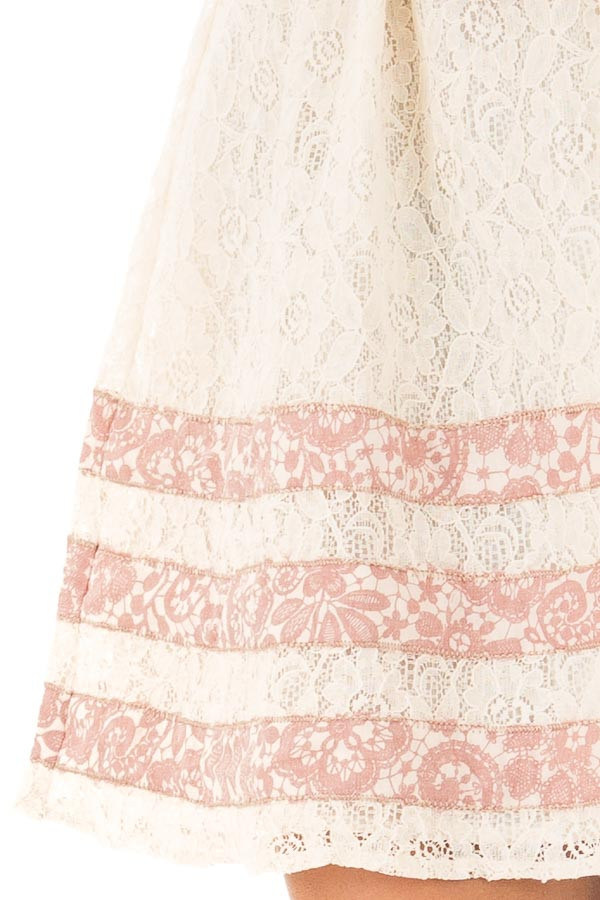Cream Lace Dress with Floral Print Stripe Detail detail