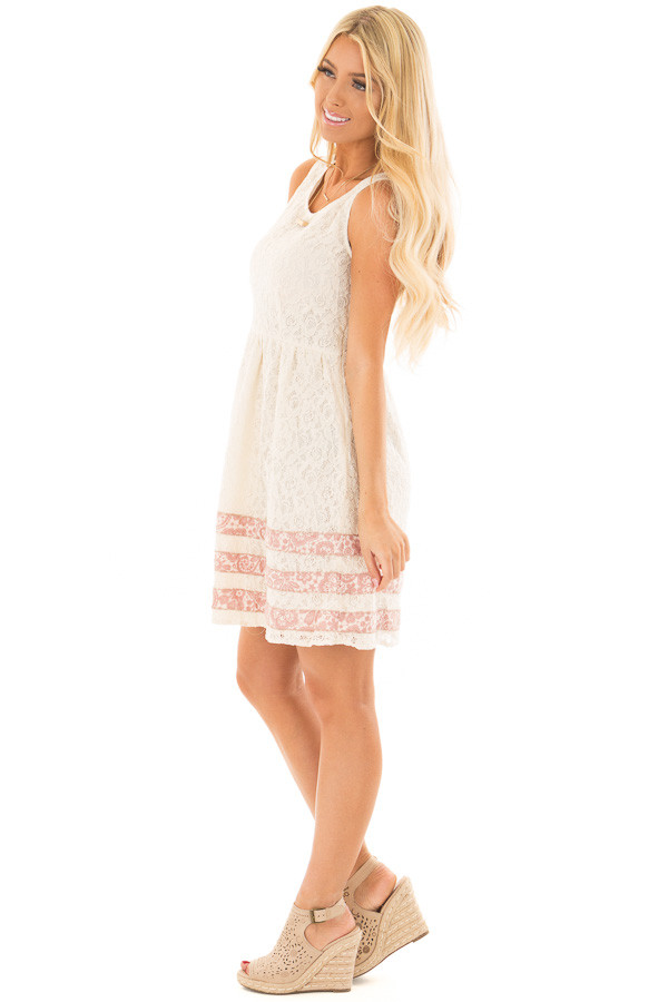 Cream Lace Dress with Floral Print Stripe Detail side full body