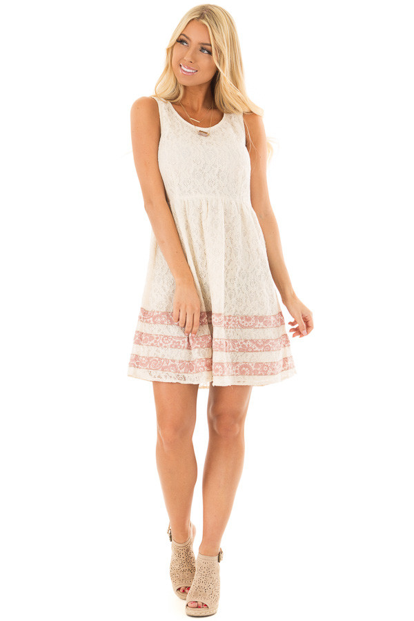 Cream Lace Dress with Floral Print Stripe Detail front full body