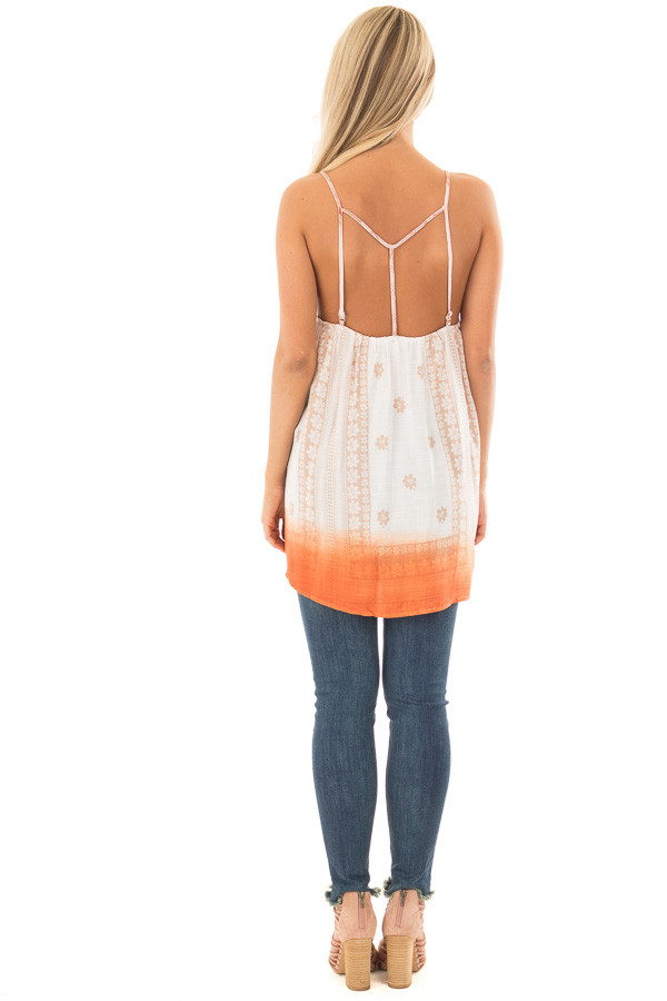Ivory Floral Print Tank Top with Sunset Orange Ombre Detail back full body