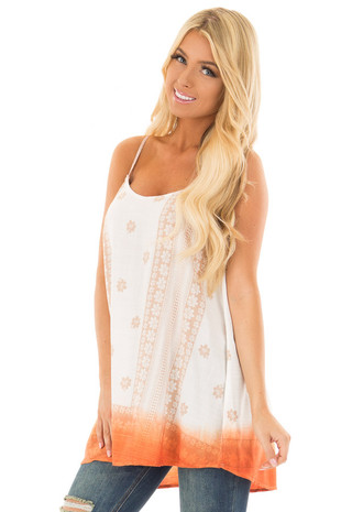 Ivory Floral Print Tank Top with Sunset Orange Ombre Detail front close up
