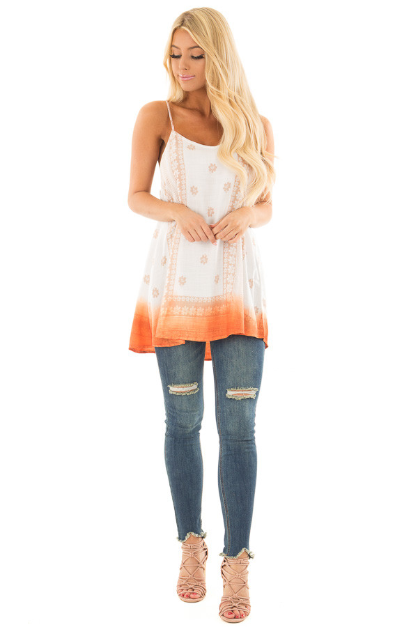 Ivory Floral Print Tank Top with Sunset Orange Ombre Detail front full body