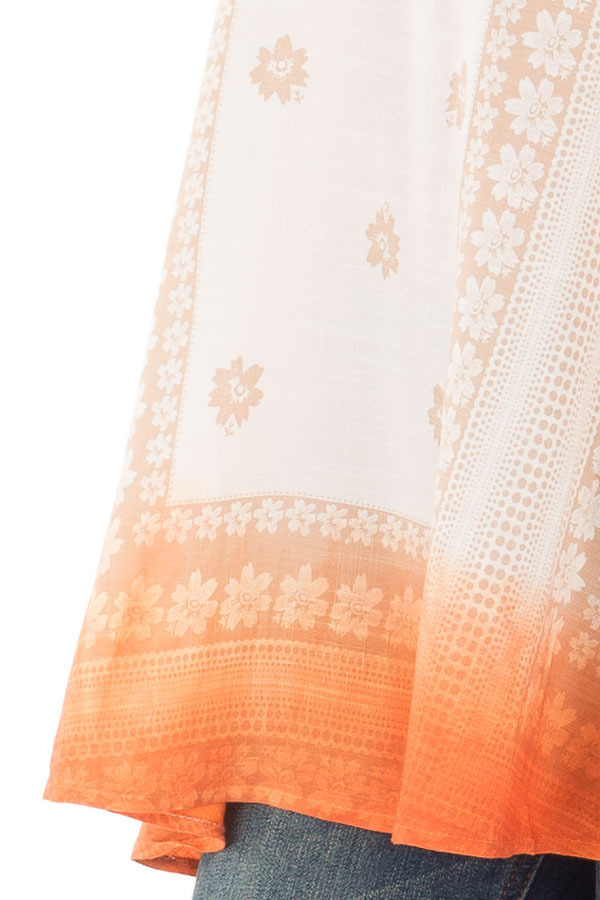 Ivory Floral Print Tank Top with Sunset Orange Ombre Detail detail