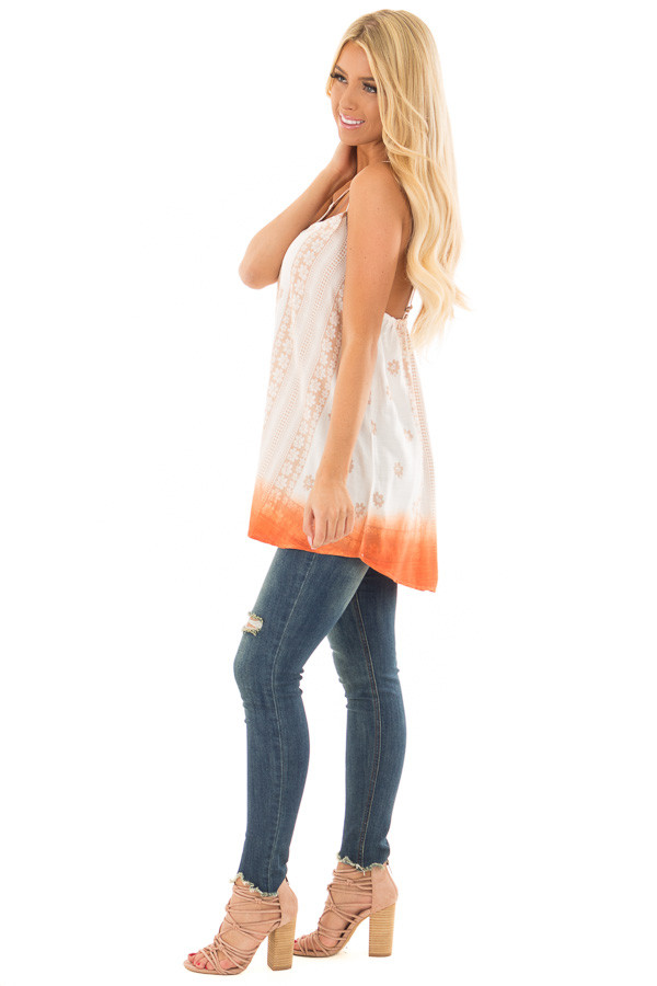 Ivory Floral Print Tank Top with Sunset Orange Ombre Detail side full body