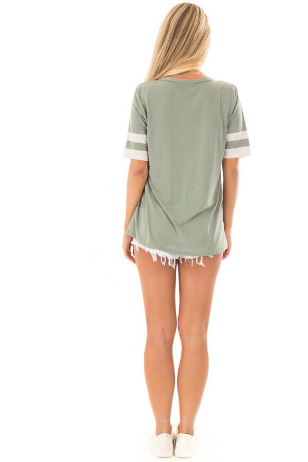 Sage Short Sleeve Tee Shirt with Ivory Varsity Stripes back full body