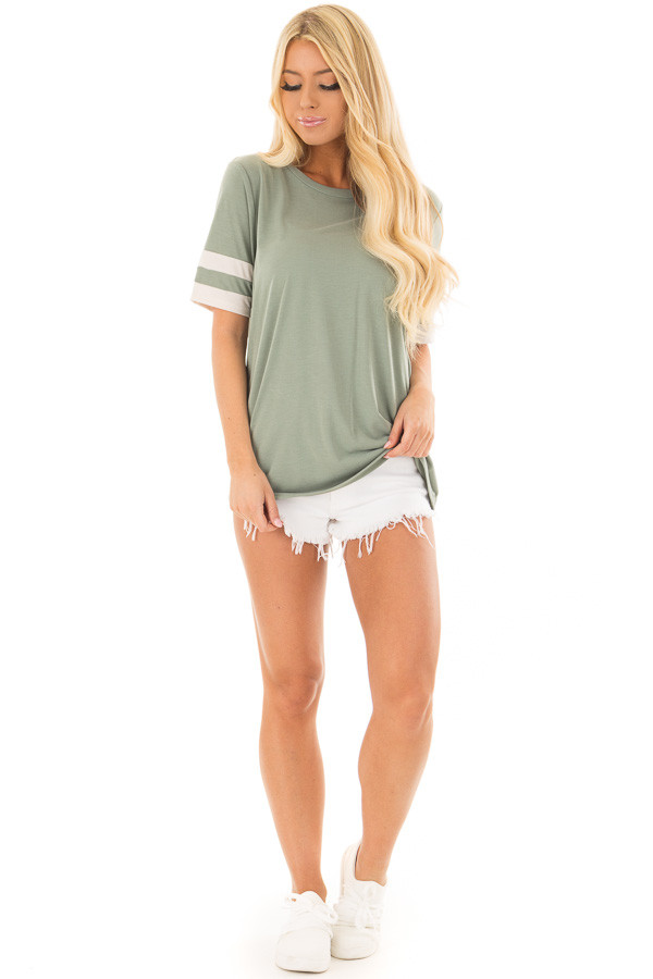 Sage Short Sleeve Tee Shirt with Ivory Varsity Stripes front full body