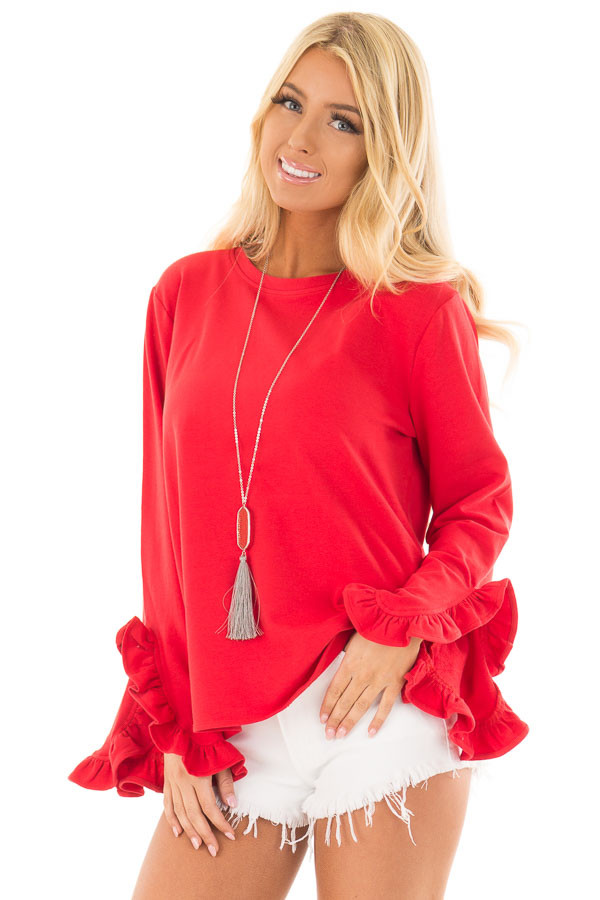 Lipstick Red Ruffle Sleeve Sweater front close up