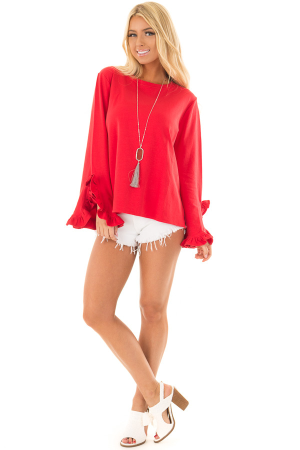 Lipstick Red Ruffle Sleeve Sweater front full body