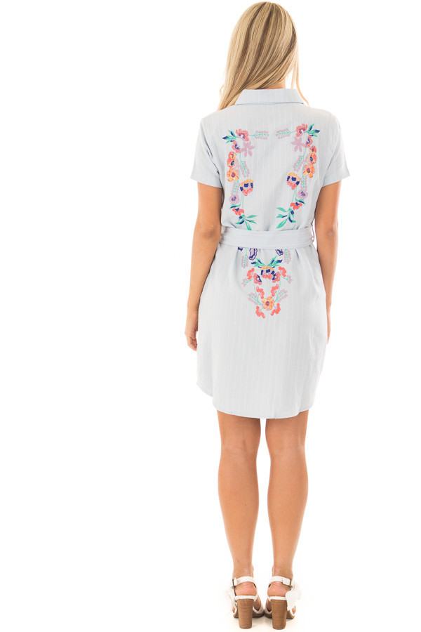 Baby Blue Striped Dress with Floral Embroidery and Waist Tie back full body