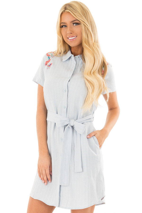 Baby Blue Striped Dress with Floral Embroidery and Waist Tie front close up