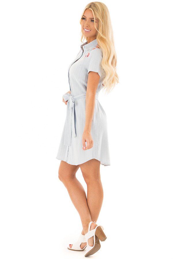Baby Blue Striped Dress with Floral Embroidery and Waist Tie side full body