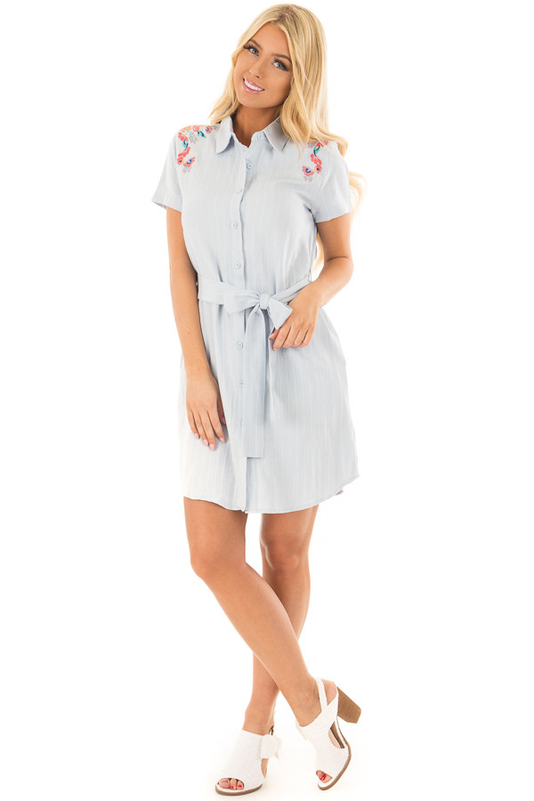 Baby Blue Striped Dress with Floral Embroidery and Waist Tie front full body