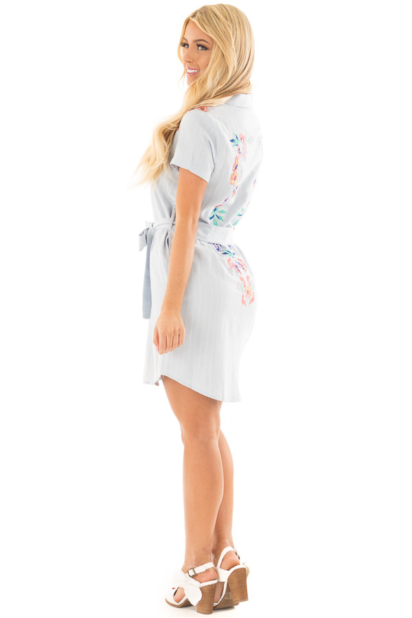 Baby Blue Striped Dress with Floral Embroidery and Waist Tie back side full body