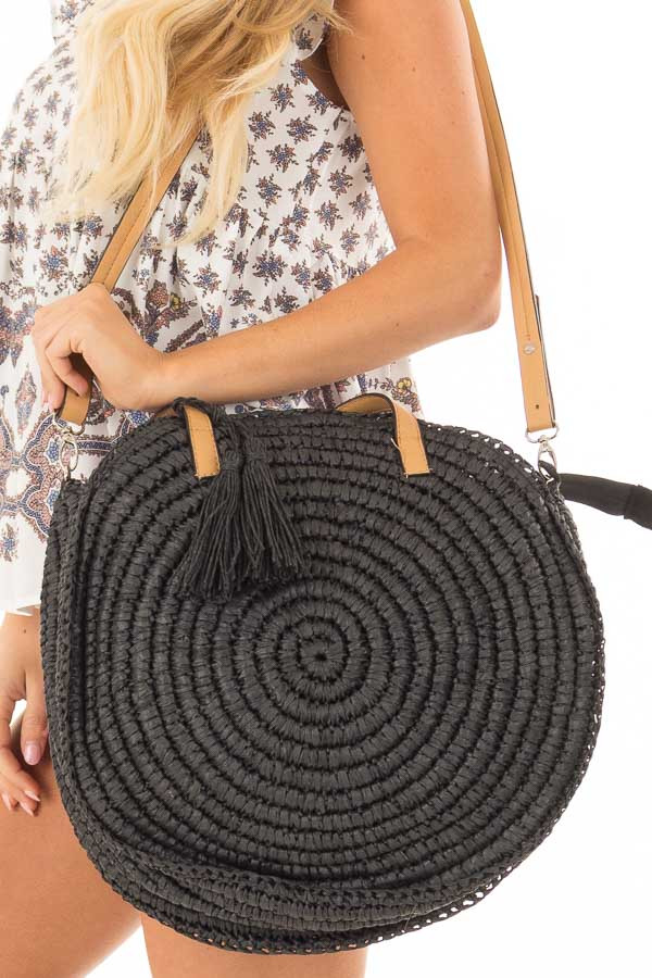 Black Straw Round Tote with Tassel Details detail