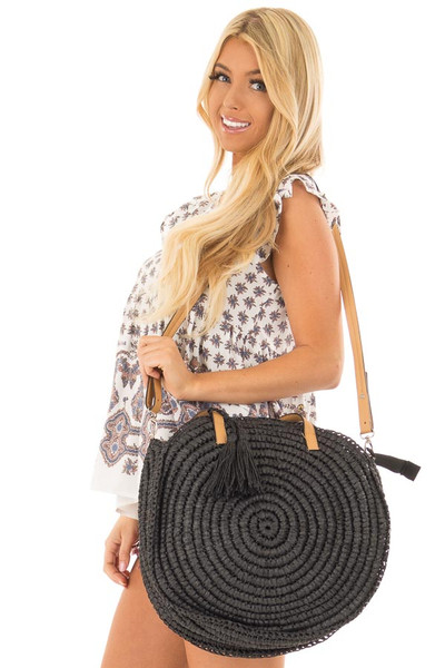 Black Straw Round Tote with Tassel Details side close up