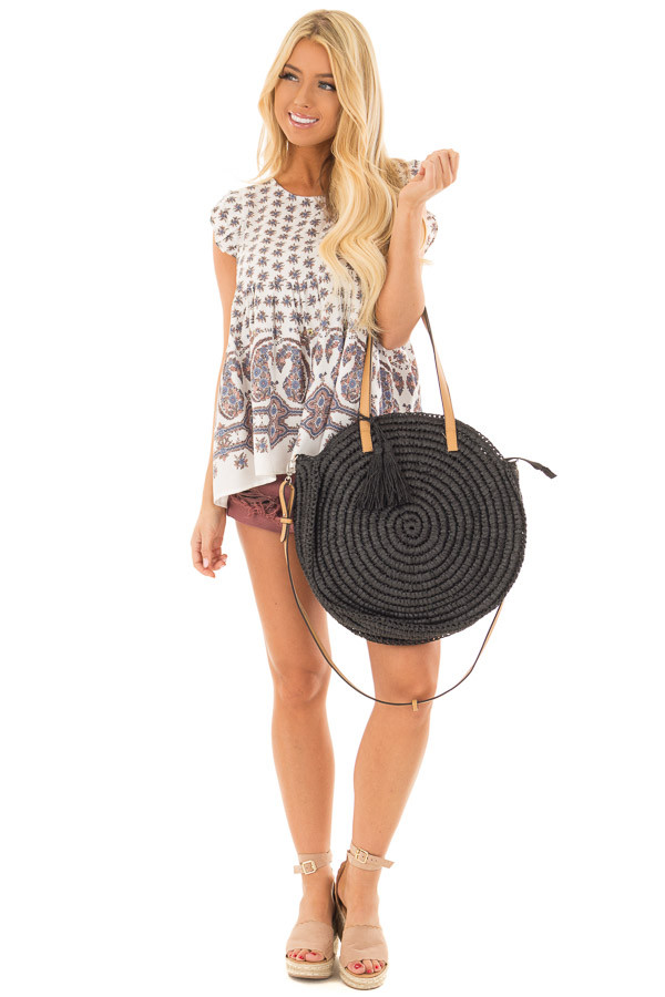 Black Straw Round Tote with Tassel Details front full body