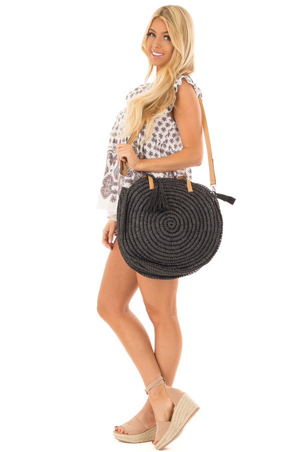 Black Straw Round Tote with Tassel Details side full body