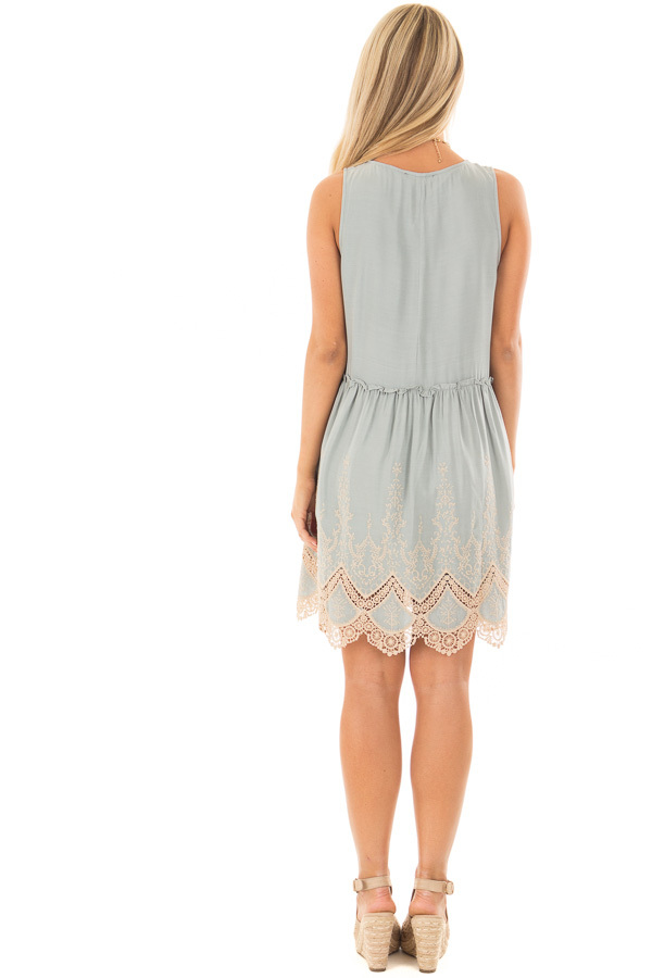 Sage Dress with Taupe Embroidery and Crochet Details back full body