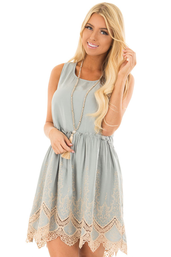 Sage Dress with Taupe Embroidery and Crochet Details front close up