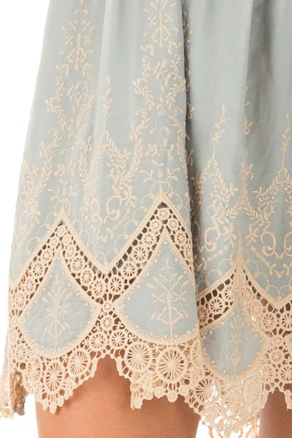 Sage Dress with Taupe Embroidery and Crochet Details detail