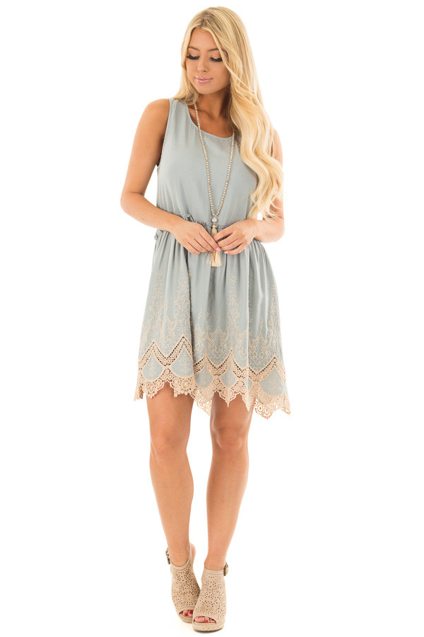Sage Dress with Taupe Embroidery and Crochet Details front full body