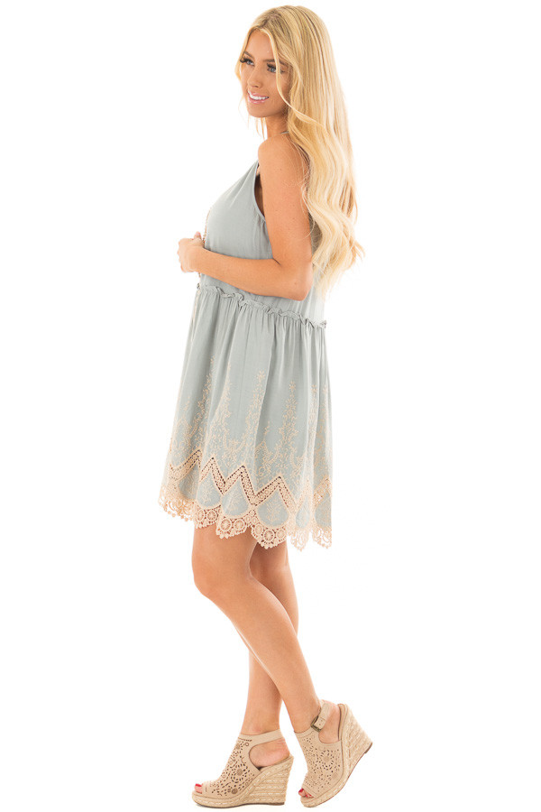 Sage Dress with Taupe Embroidery and Crochet Details side full body